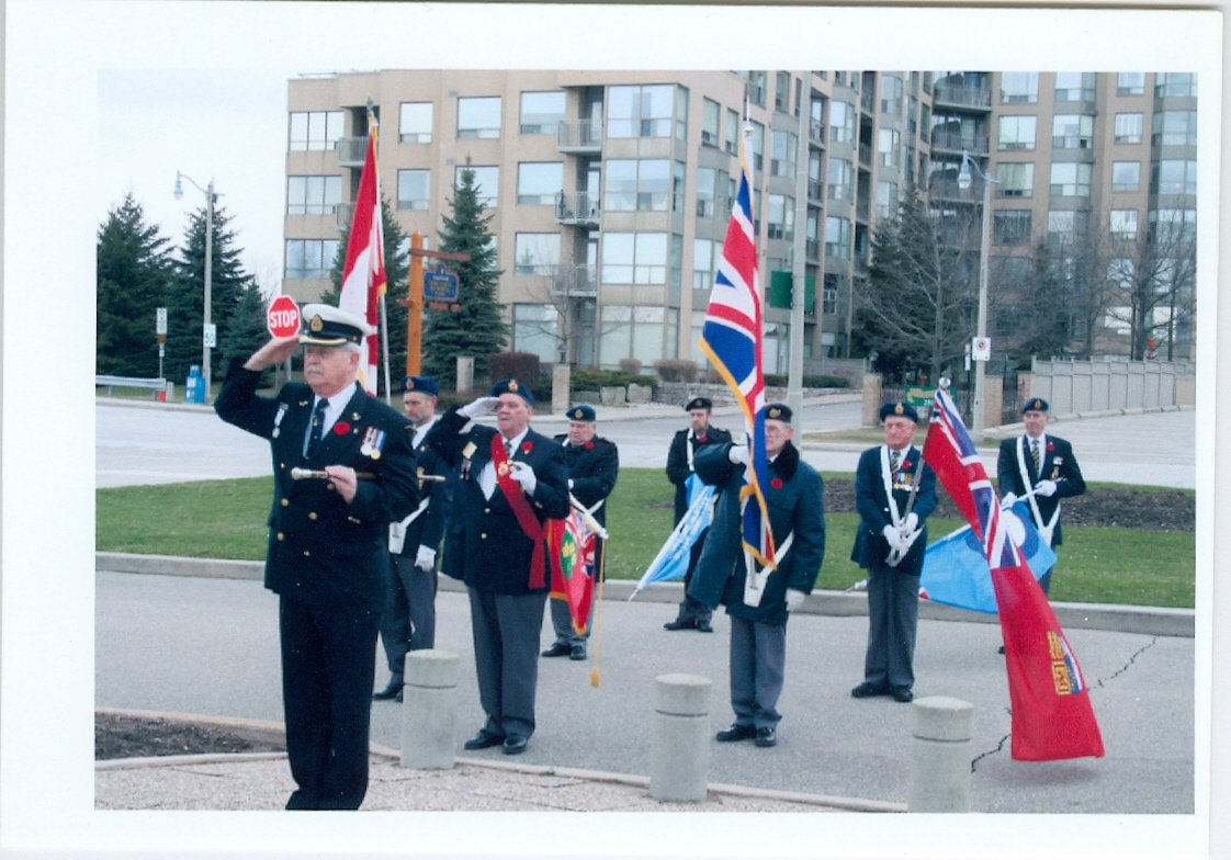 First from left: Parade Marshall Mike Vencel, Bronte Legion Remembrance Day Service c. 2000-2001