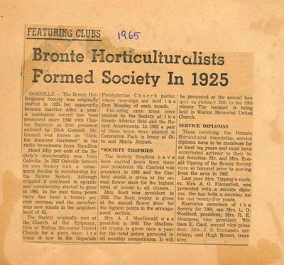 Bronte Horticulturalists Formed Society In 1925