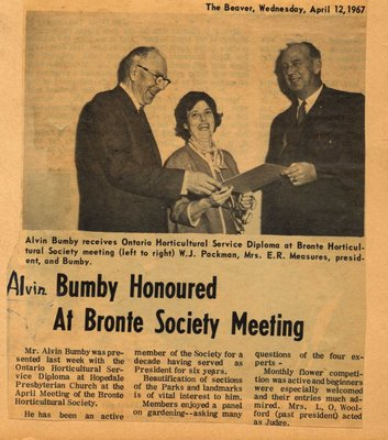 Alvin Bumby Honoured at Bronte Society Meeting