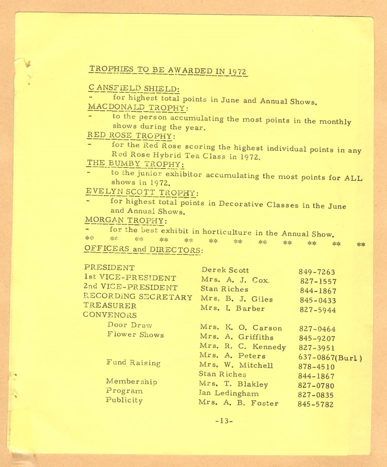 Bronte Horticultural Society 1972 Trophy List