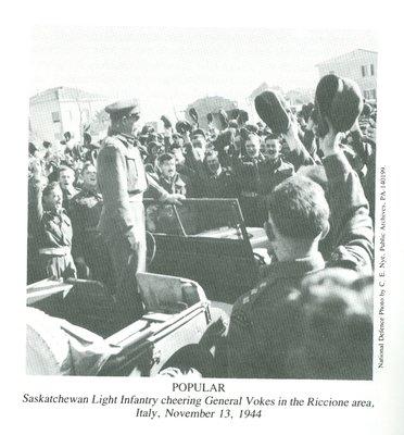 Saskatchewan Light Infantry cheering General Vokes (1944)