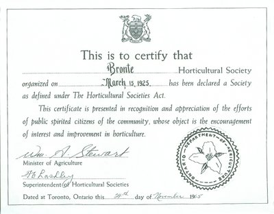 Bronte Horticultural Society certificate from the Ontario Department of Agriculture (1965)