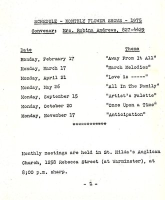 Bronte Horticultural Society Monthly Flower Shows Schedule (1975)