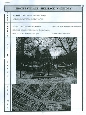 Bronte Village - Heritage Inventory (Cenotaph War Memorial)