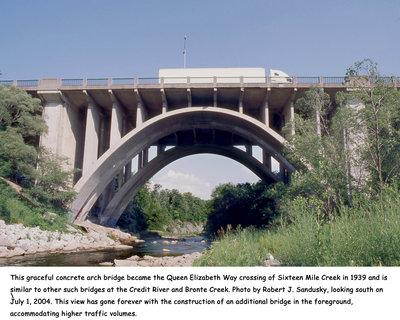 Bridge over Sixteen Mile Creek at Queen Elizabeth Way, 2004