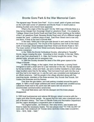 Bronte Historical Society Newsletter article: Bronte Gore Park & the War Memorial Cairn