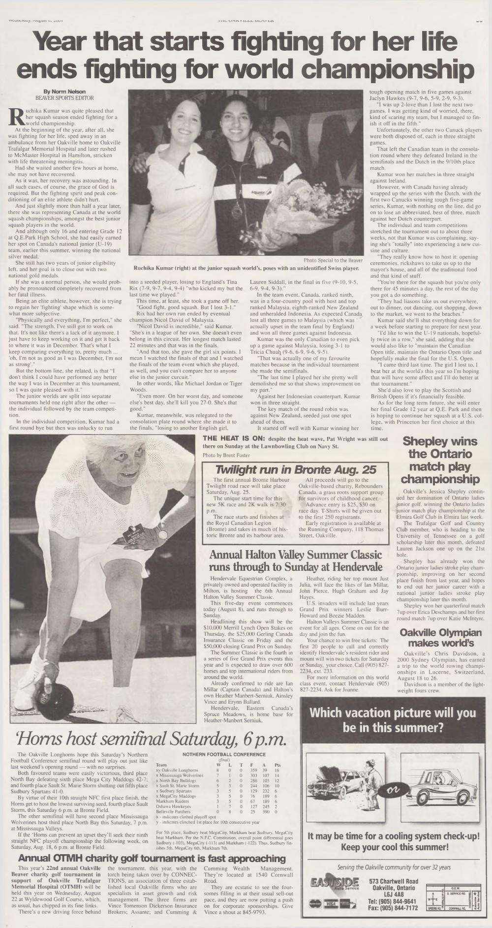 Oakville Beaver, 8 Aug 2001