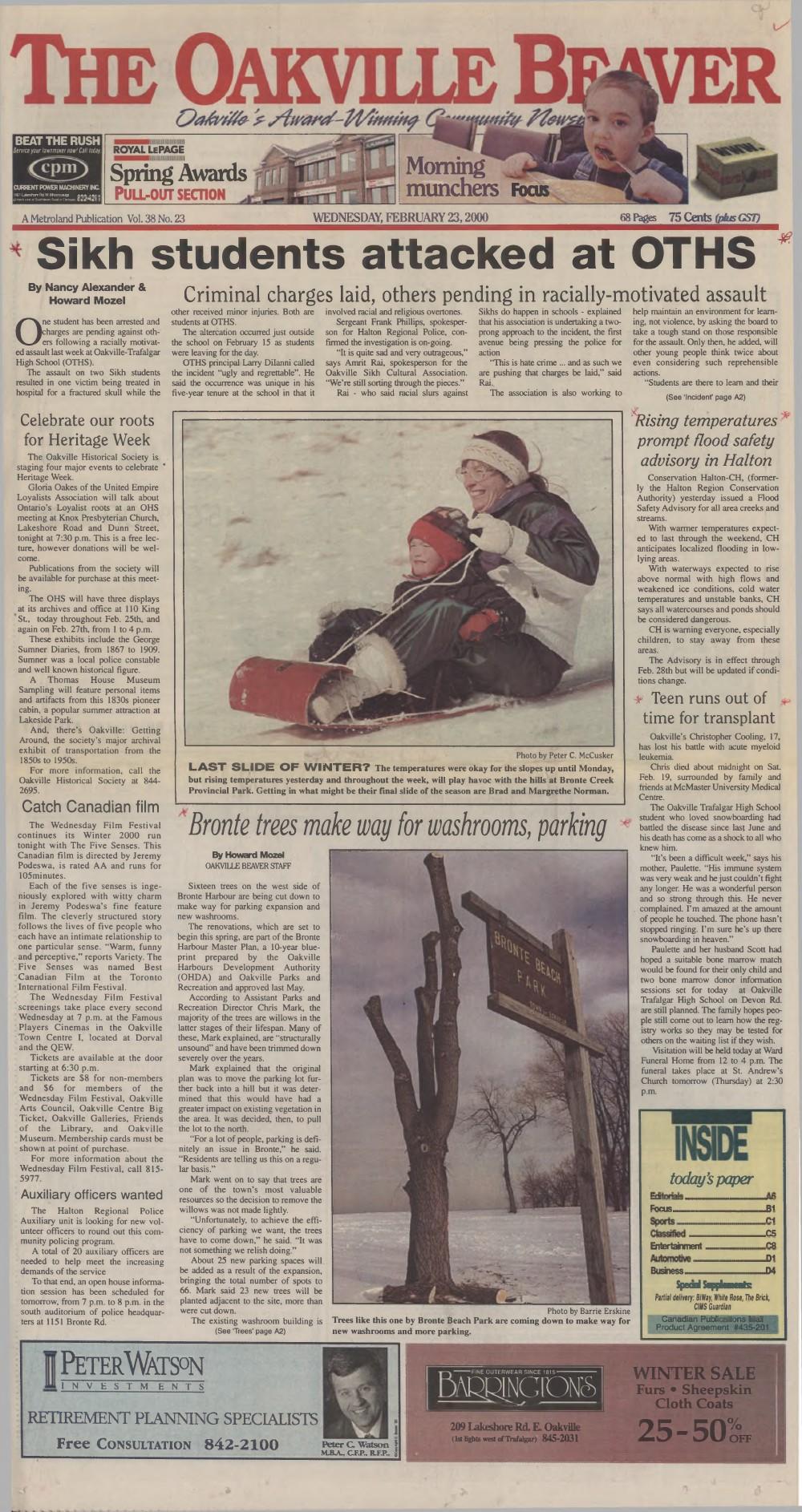Oakville Beaver, 23 Feb 2000