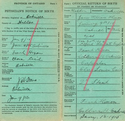 Notice and Return of Birth for James William Hixon