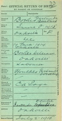 Return of Birth for Gertrude Beatrice Bowles