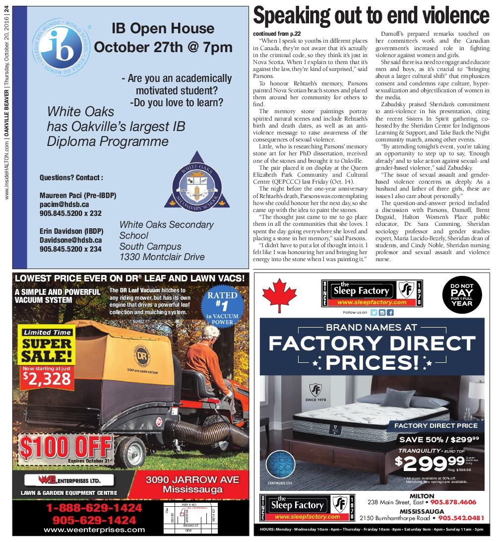 Oakville Beaver, 20 Oct 2016