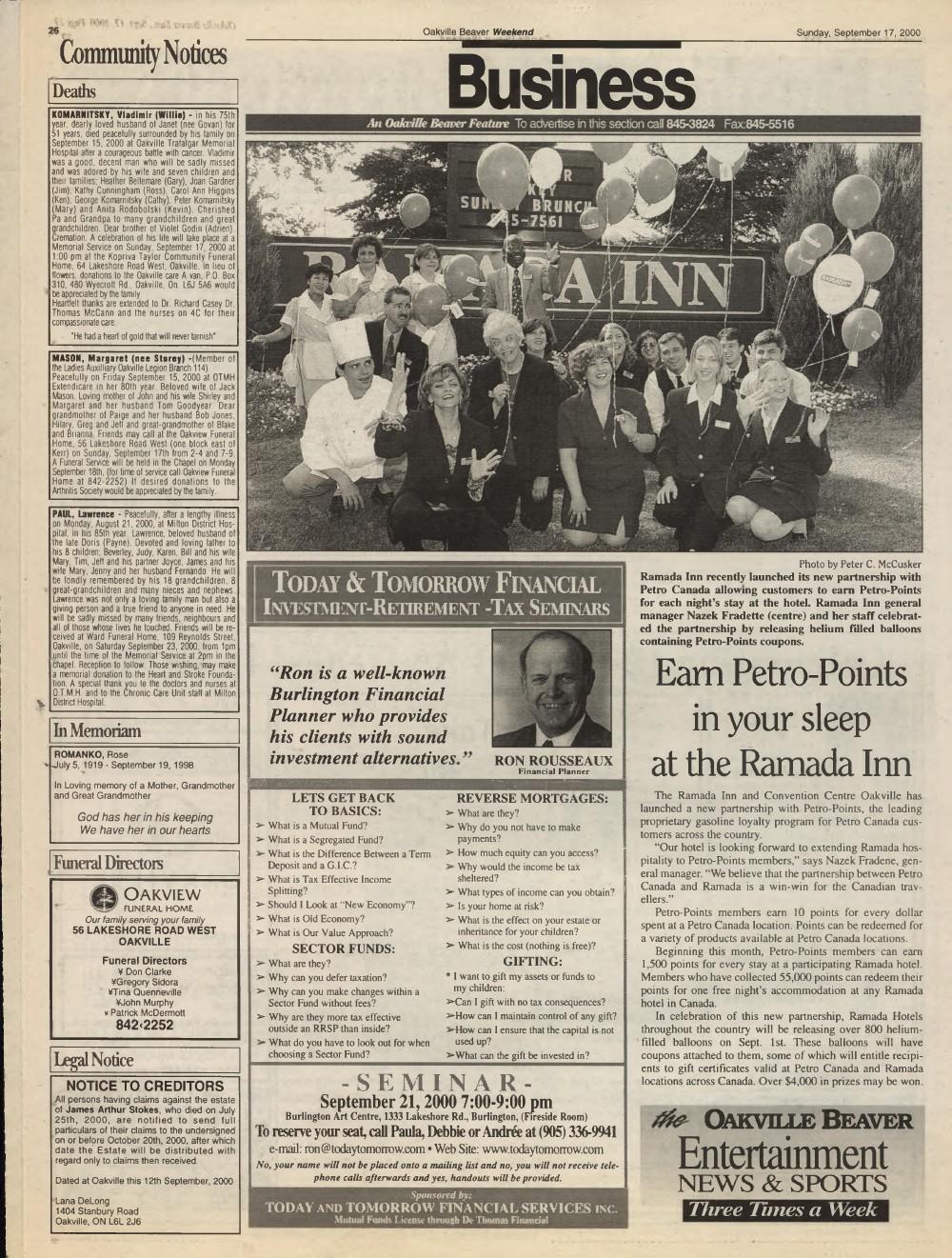 Oakville Beaver, 17 Sep 2000
