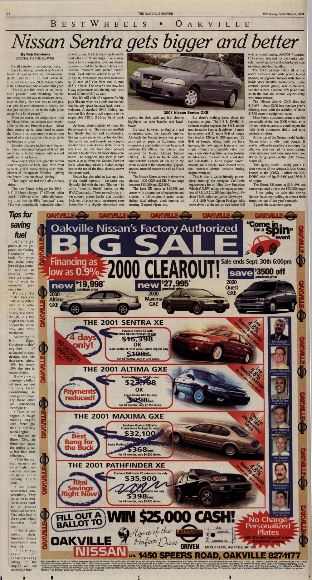 Oakville Beaver, 27 Sep 2000