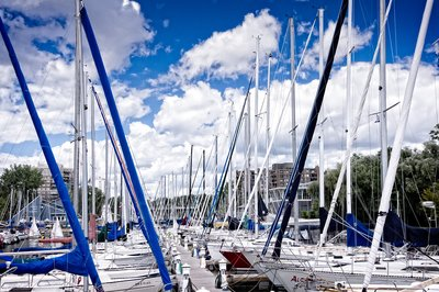 Blue White Masts