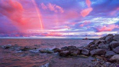 Rainbow and Lighthouse