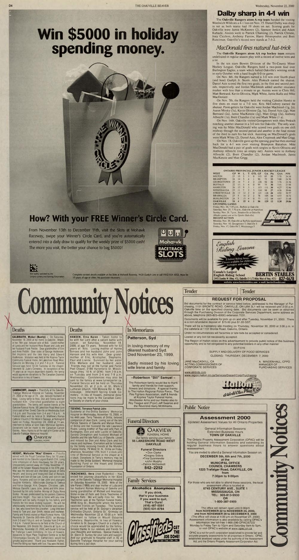 Oakville Beaver, 22 Nov 2000
