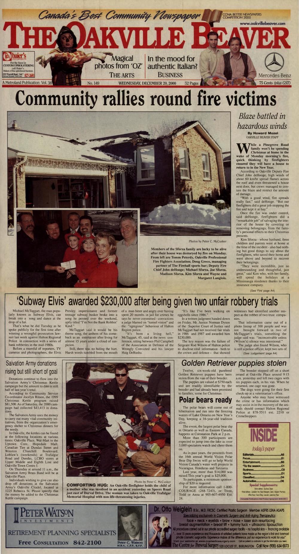 Oakville Beaver, 20 Dec 2000