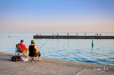 Fishing off the East Pier at Bronte Harbour