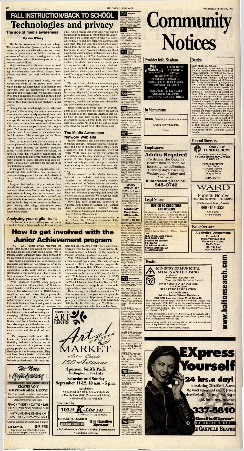 Oakville Beaver, 8 Sep 1999
