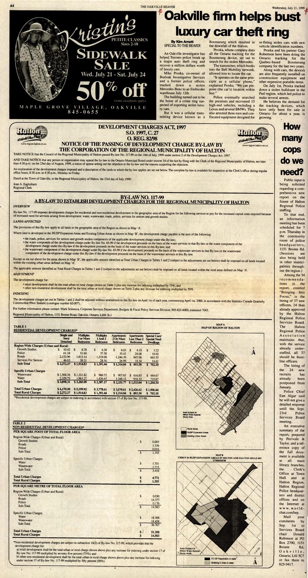Oakville Beaver, 21 Jul 1999