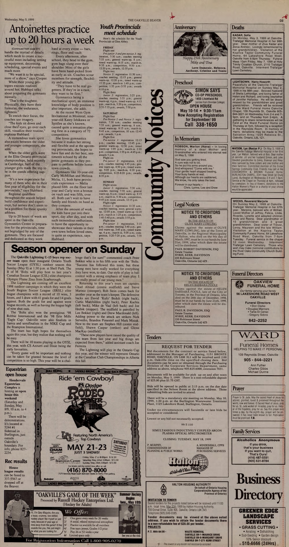 Oakville Beaver, 5 May 1999