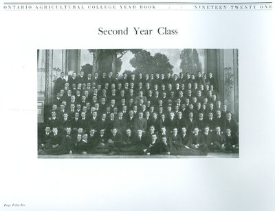 Allan Davidson in the Ontario Agricultural College 1921 Yearbook