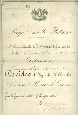 Royal Italian Army Cross of Merit of War Document