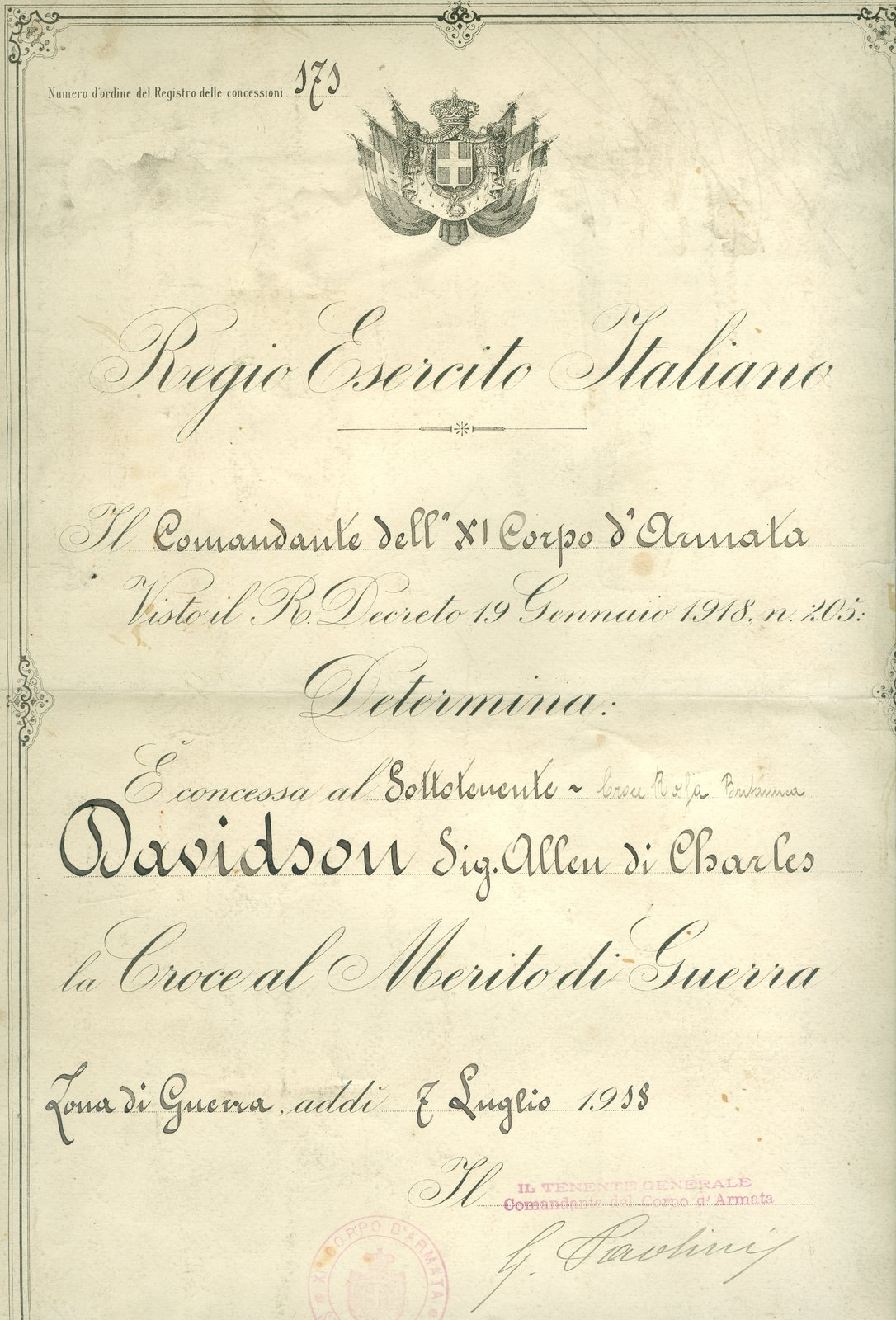 Royal Italian Army Cross of Merit of War Document