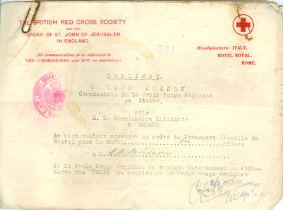 Red Cross Travel Documents
