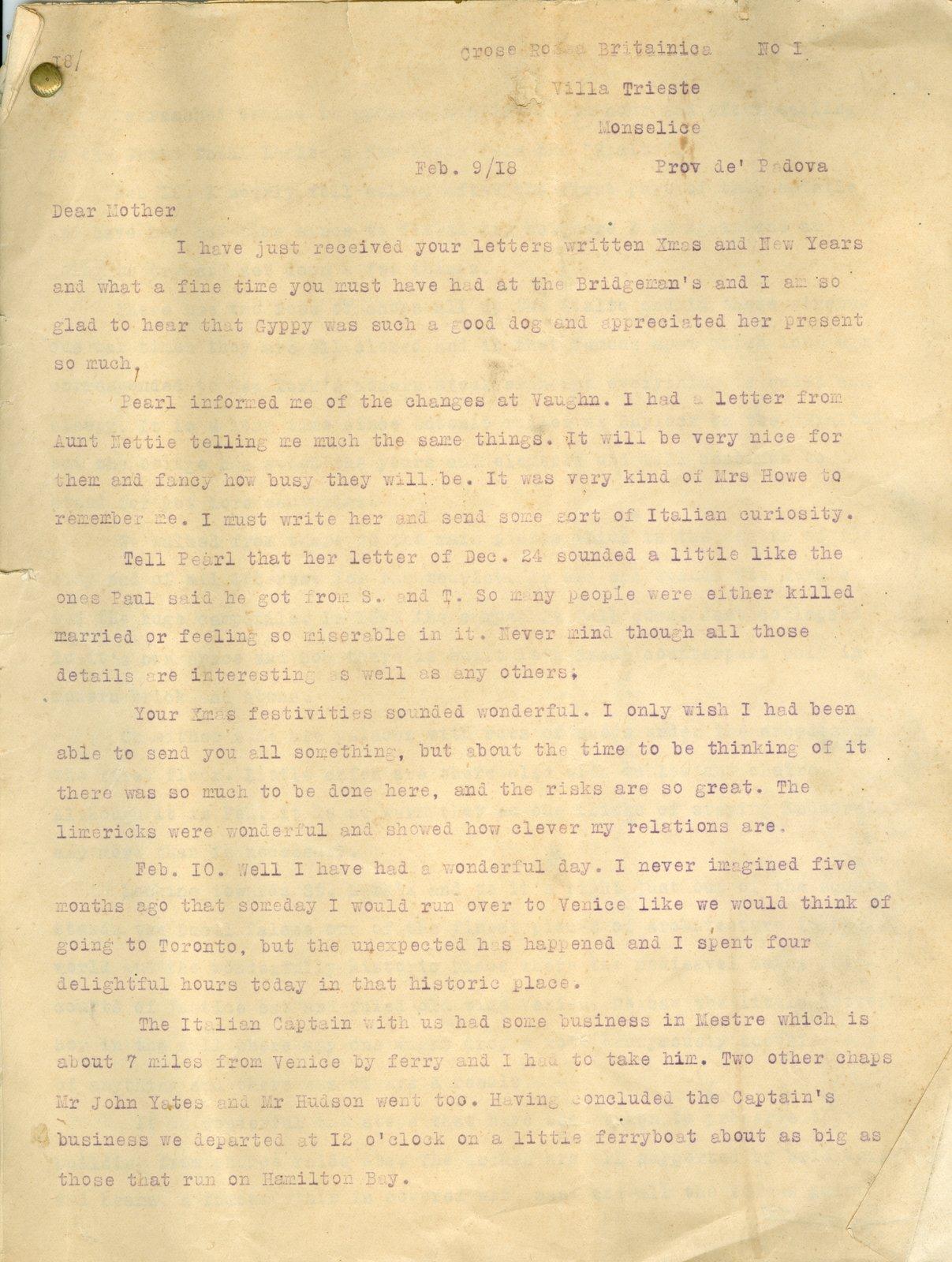 Allan Davidson Letter, February 9, 1918
