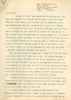 Allan Davidson Letter, November 19, 1918
