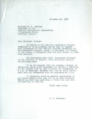 Letter from R.J. Cooksley to W.R. Anthony