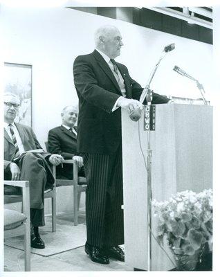 Lt/Gov. Rowe Speaking at the Oakville Centennial Centre Opening Ceremonies