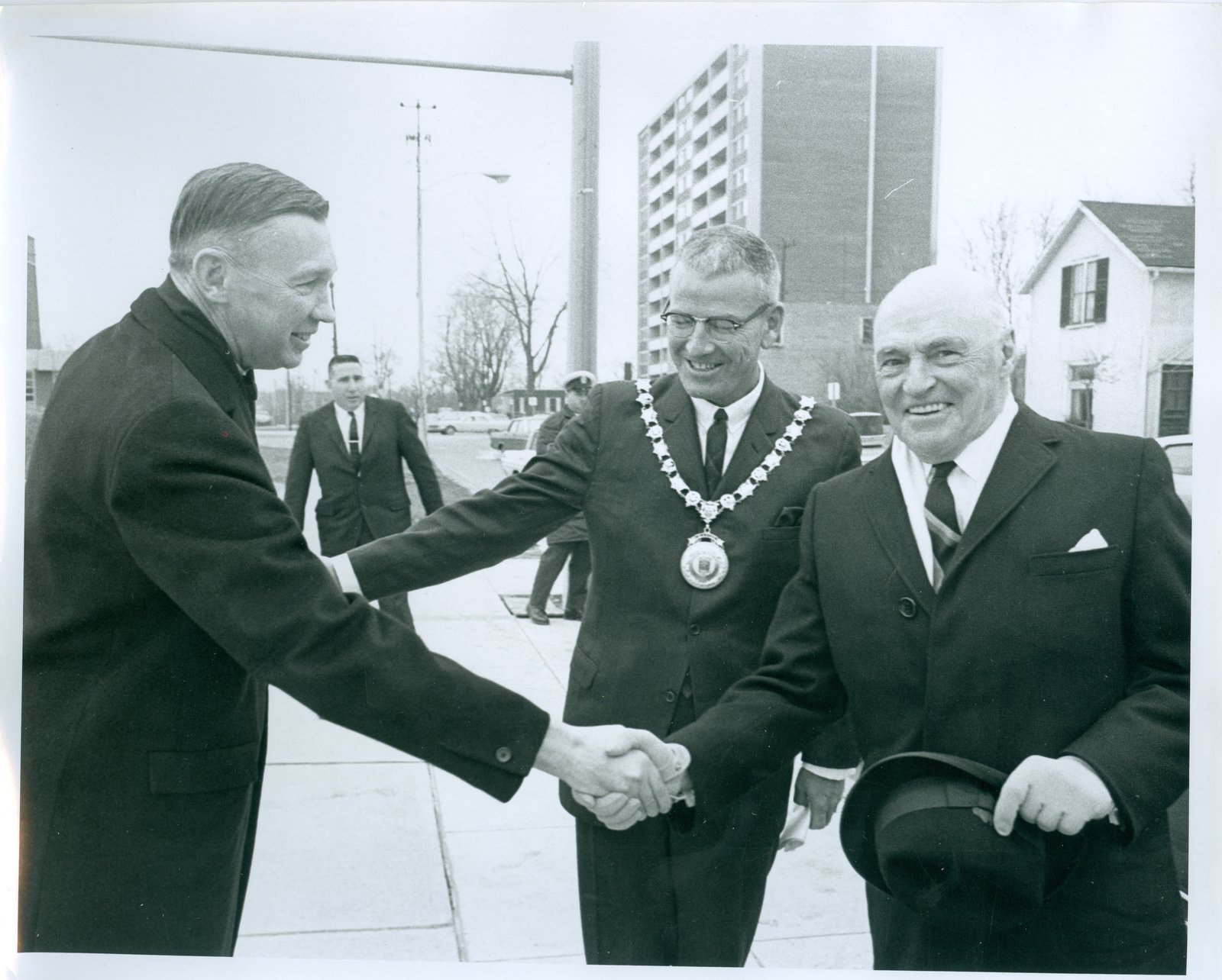 Mayor Anderson and Hon. Earl Rowe Outside the Oakville Centennial Centre