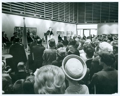 Speaker and Crowd at the Opening of the Oakville Centennial Centre