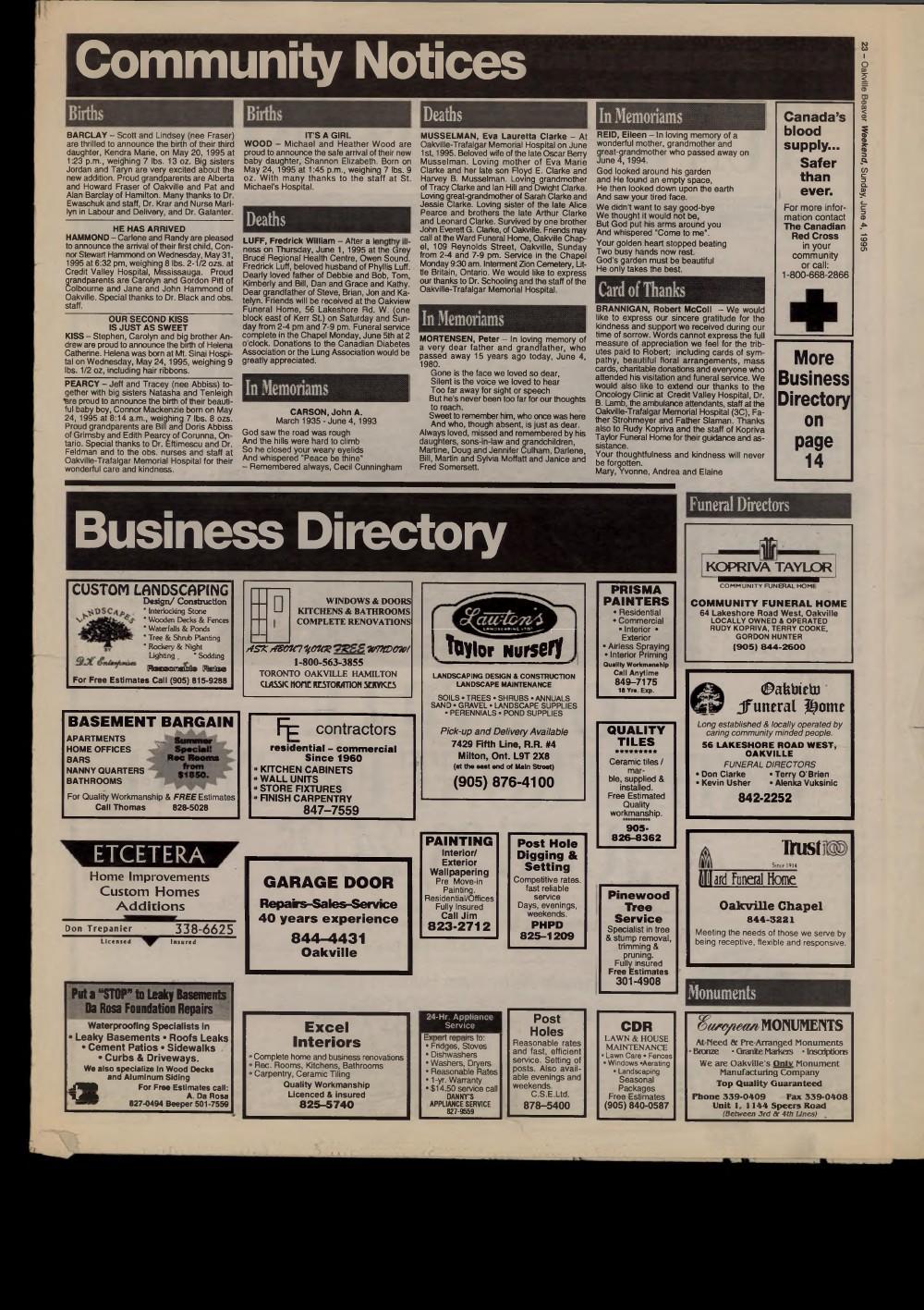 Oakville Beaver, 4 Jun 1995