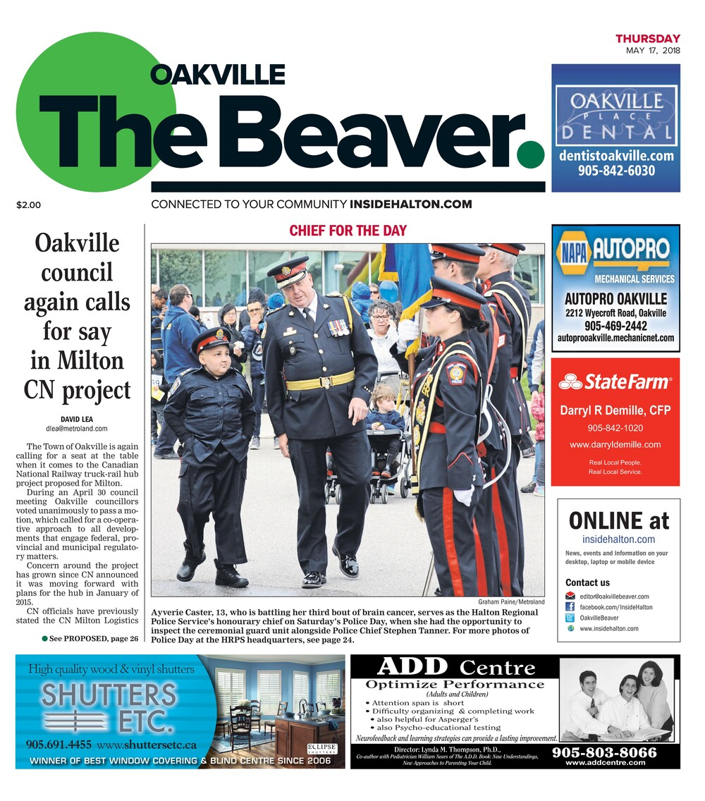 Oakville Beaver, 17 May 2018