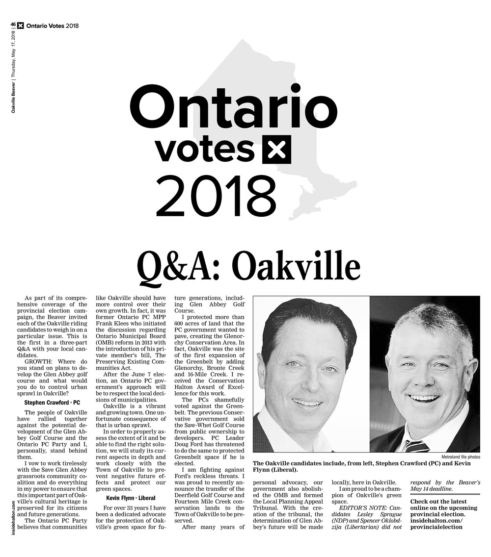 Oakville Beaver, 17 May 2018