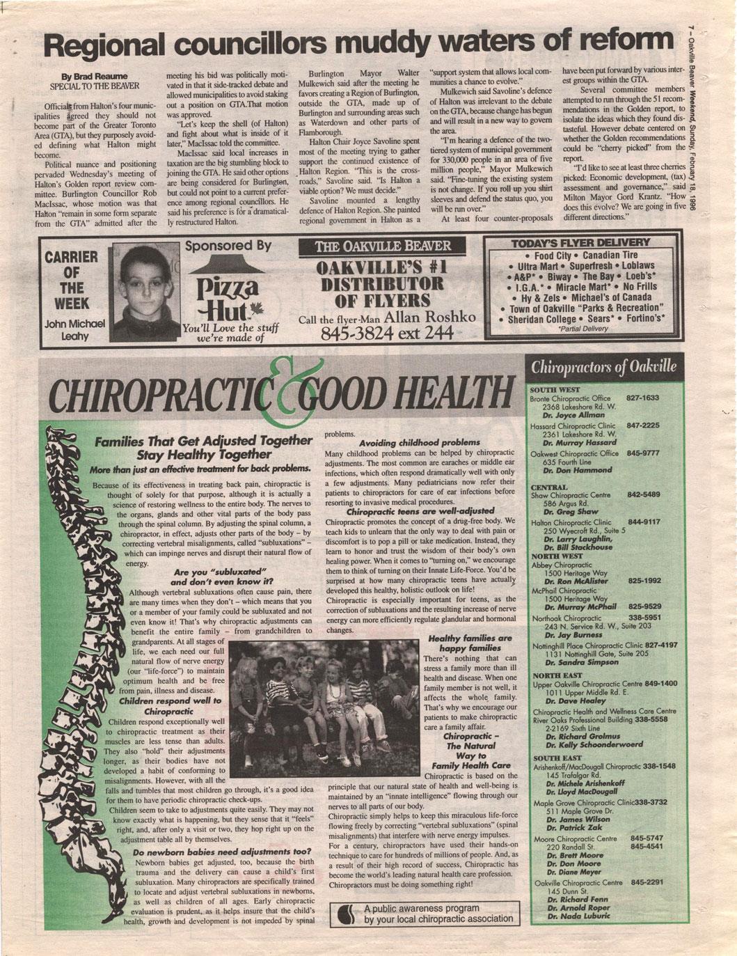 Oakville Beaver, 18 Feb 1996