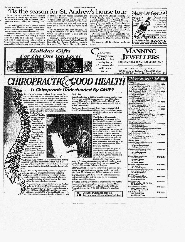 Oakville Beaver, 16 Nov 1997