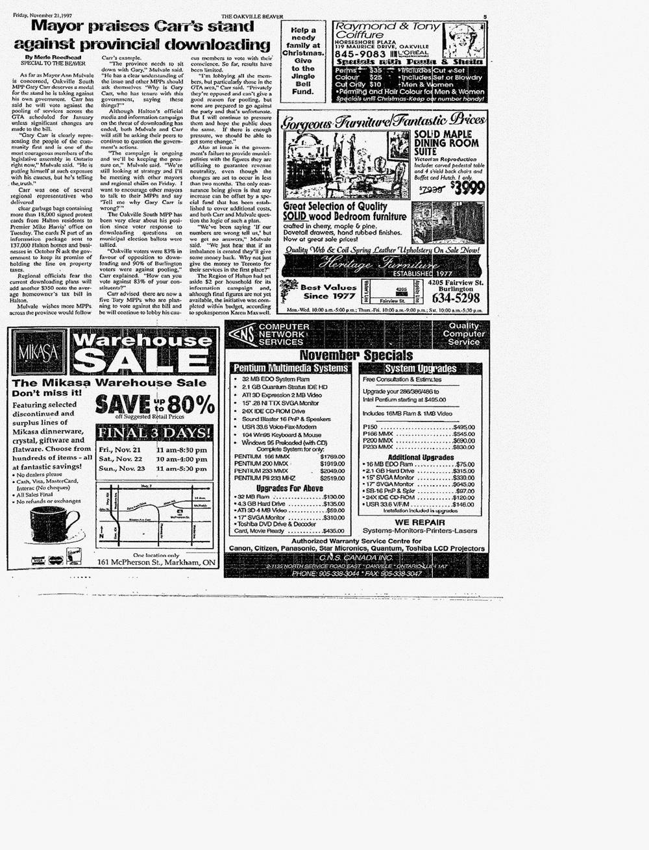 Oakville Beaver, 21 Nov 1997