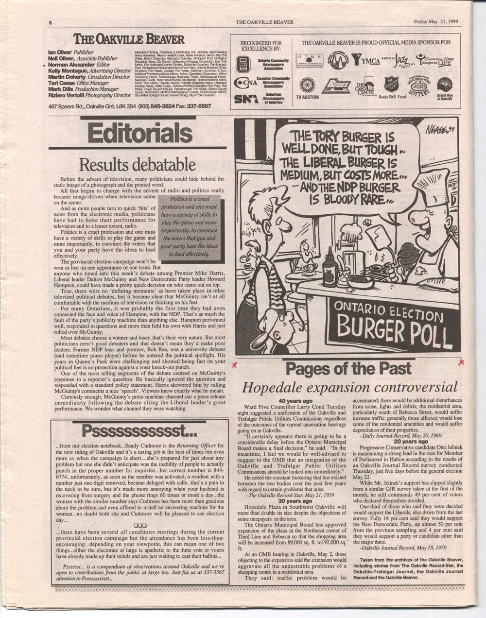 Oakville Beaver, 21 May 1999