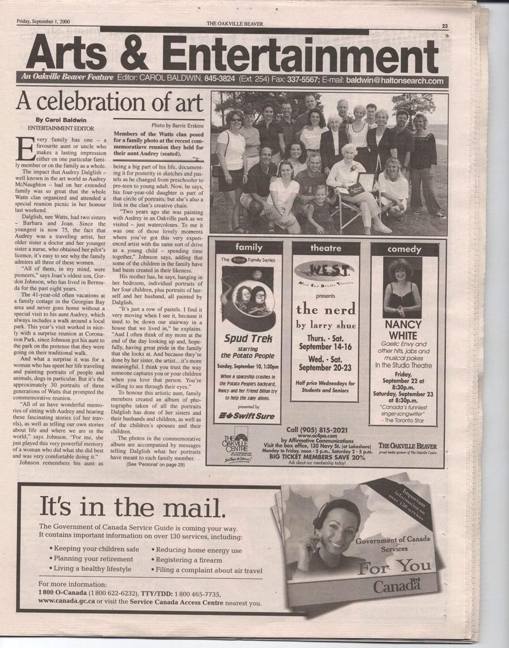 Oakville Beaver, 1 Sep 2000