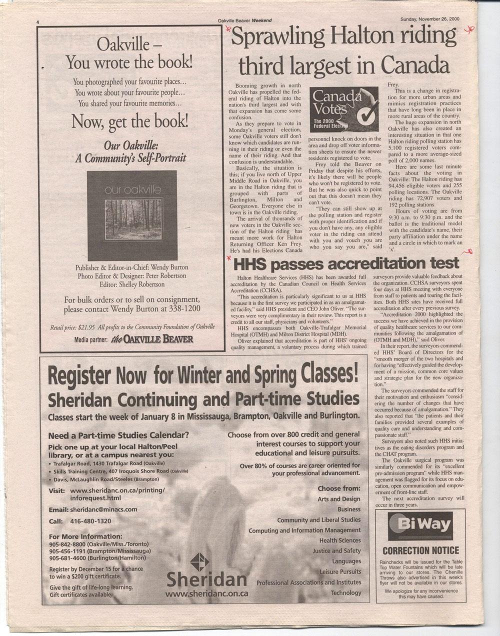 Oakville Beaver, 26 Nov 2000