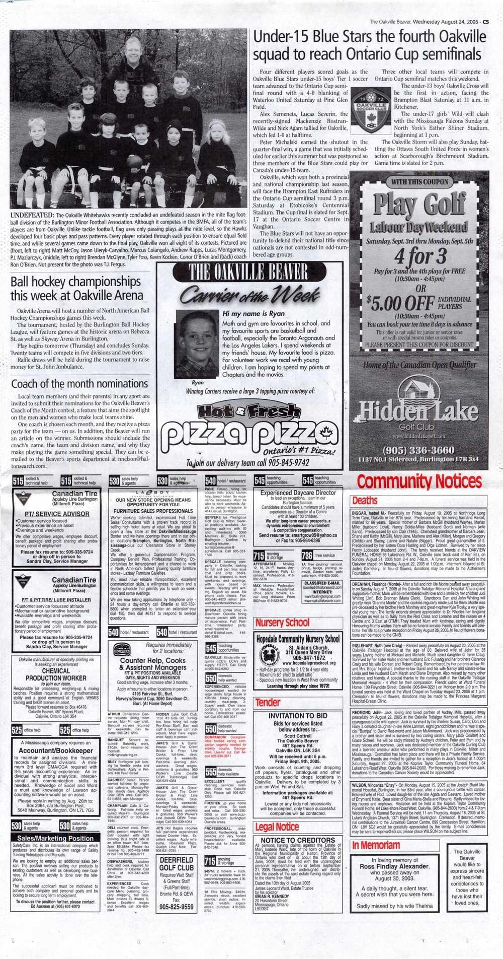 Oakville Beaver, 24 Aug 2005