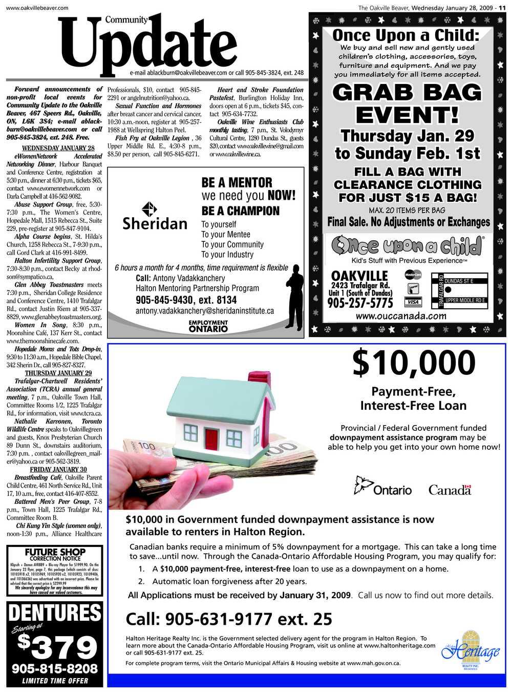 Oakville Beaver, 28 Jan 2009