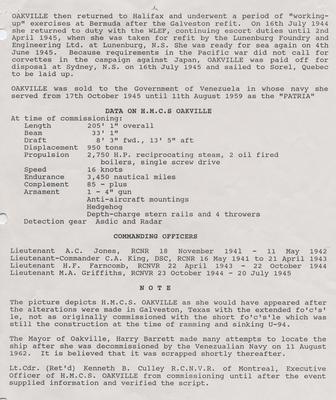 HMCS Oakville K178, Flower Class, Short Fo'c's'le Corvette - page 3 of 3