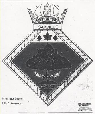 Photocopy of original drawing for proposed badge, HMCS Oakville