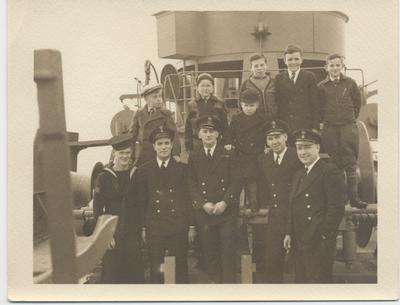 Officers and students on board HMCS Oakville, November 5, 1941