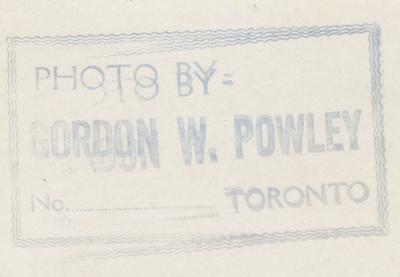 Reverse of photo HMCS00139, photo taken by Gordon W. Powely of Toronto